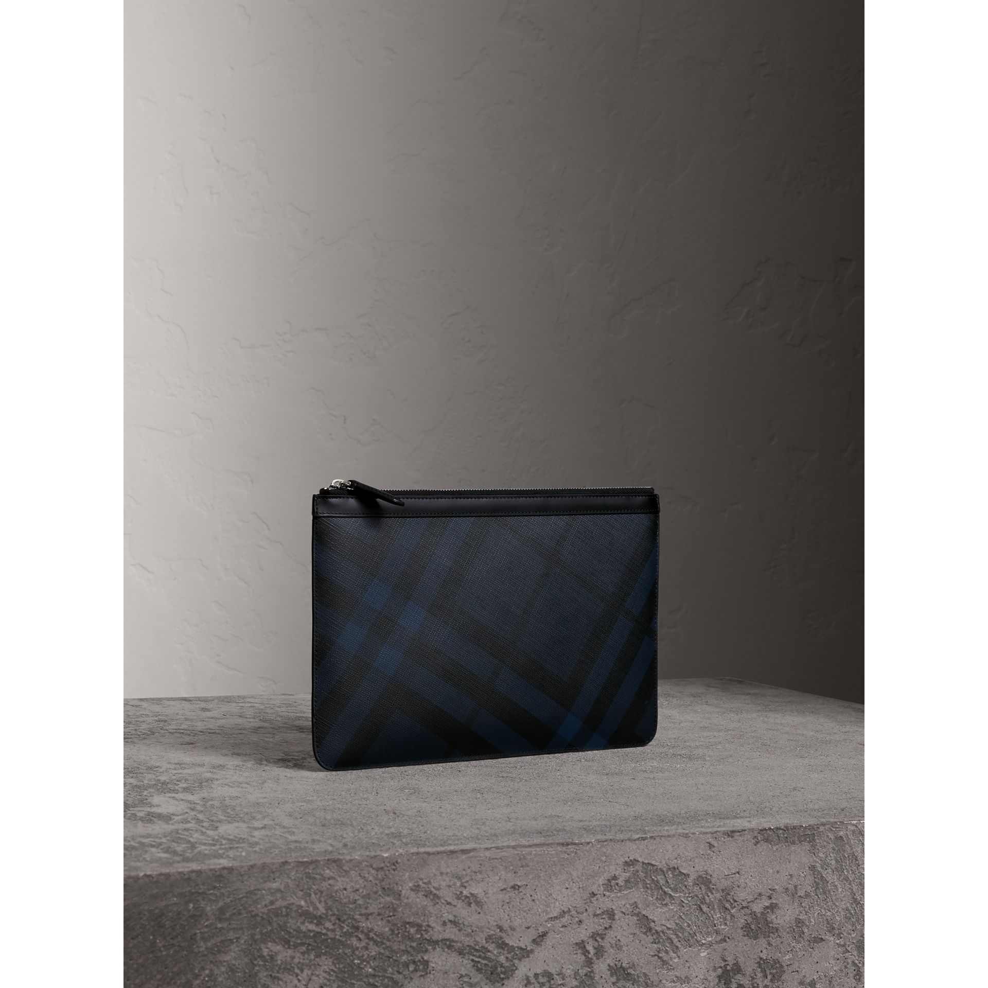 Zipped London Check Pouch in Navy/black - Men | Burberry - gallery image 5