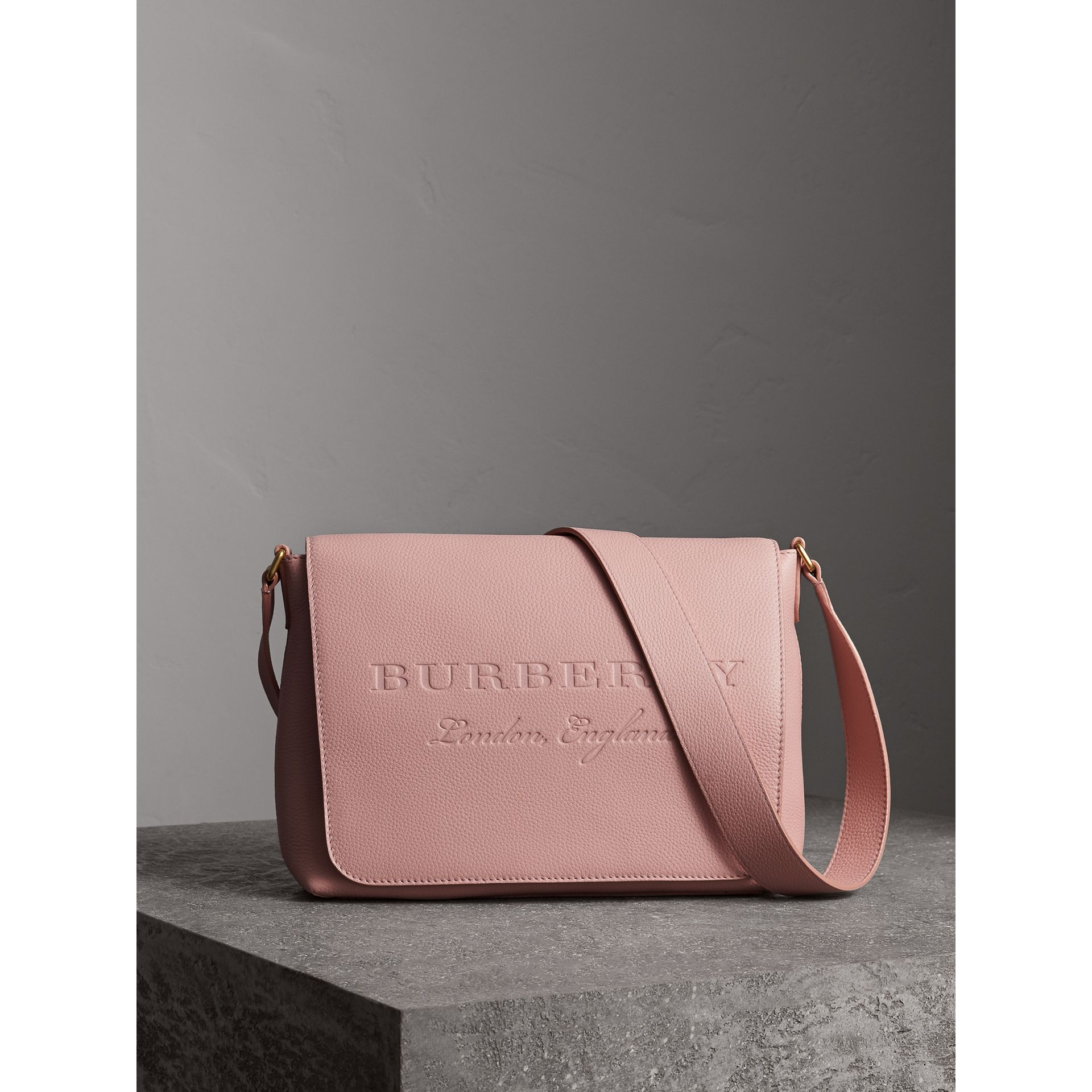Medium Embossed Leather Messenger Bag in Pale Ash Rose - Women | Burberry - gallery image 1