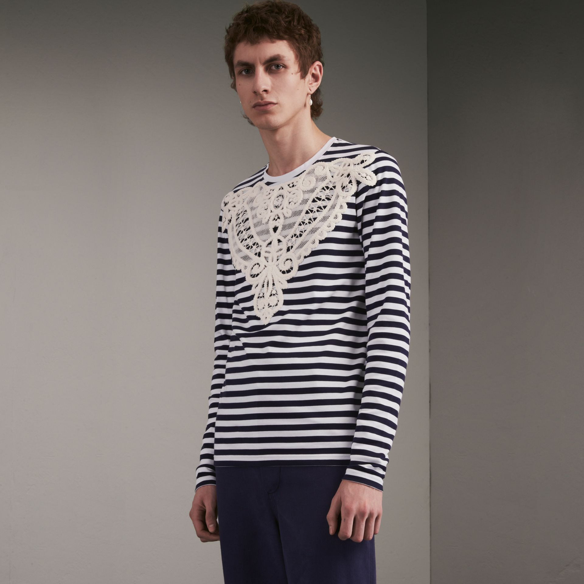 Unisex Breton Stripe Cotton Top with Lace Appliqué in Indigo - Men | Burberry - gallery image 1