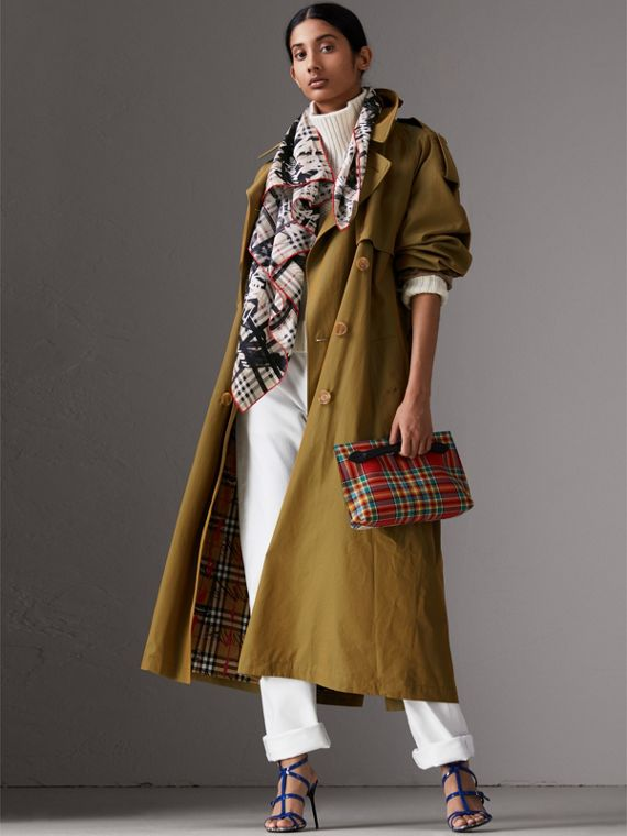 Scribble Check Silk Square Scarf in Stone | Burberry United Kingdom - cell image 3