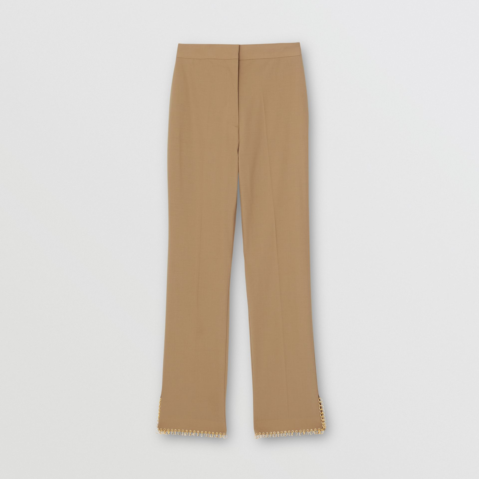 Ring-pierced Wool Trousers in Honey - Women | Burberry United States - gallery image 3