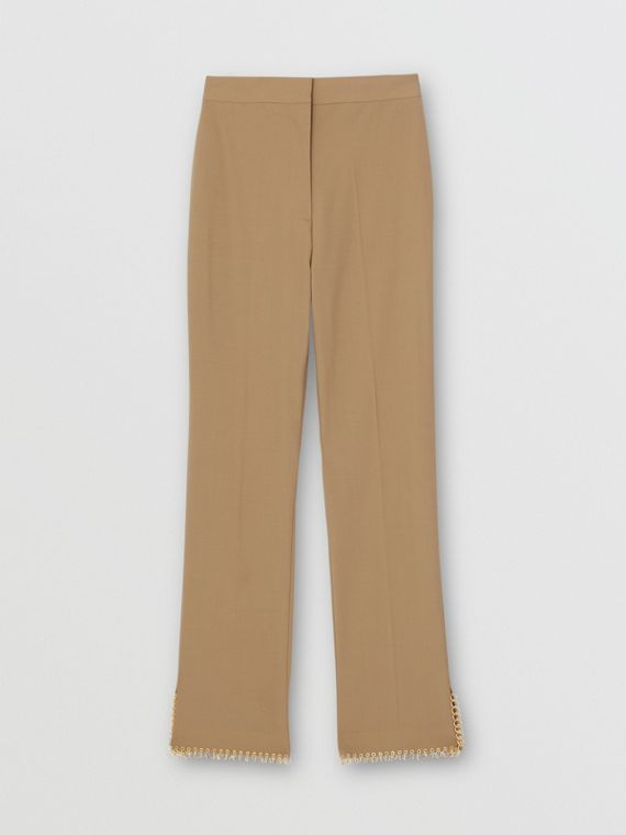 Ring Pierced Wool Trousers in Honey