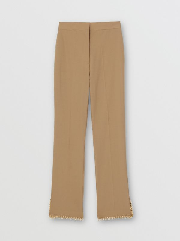 Ring Pierced Wool Trousers in Honey - Women | Burberry - cell image 3