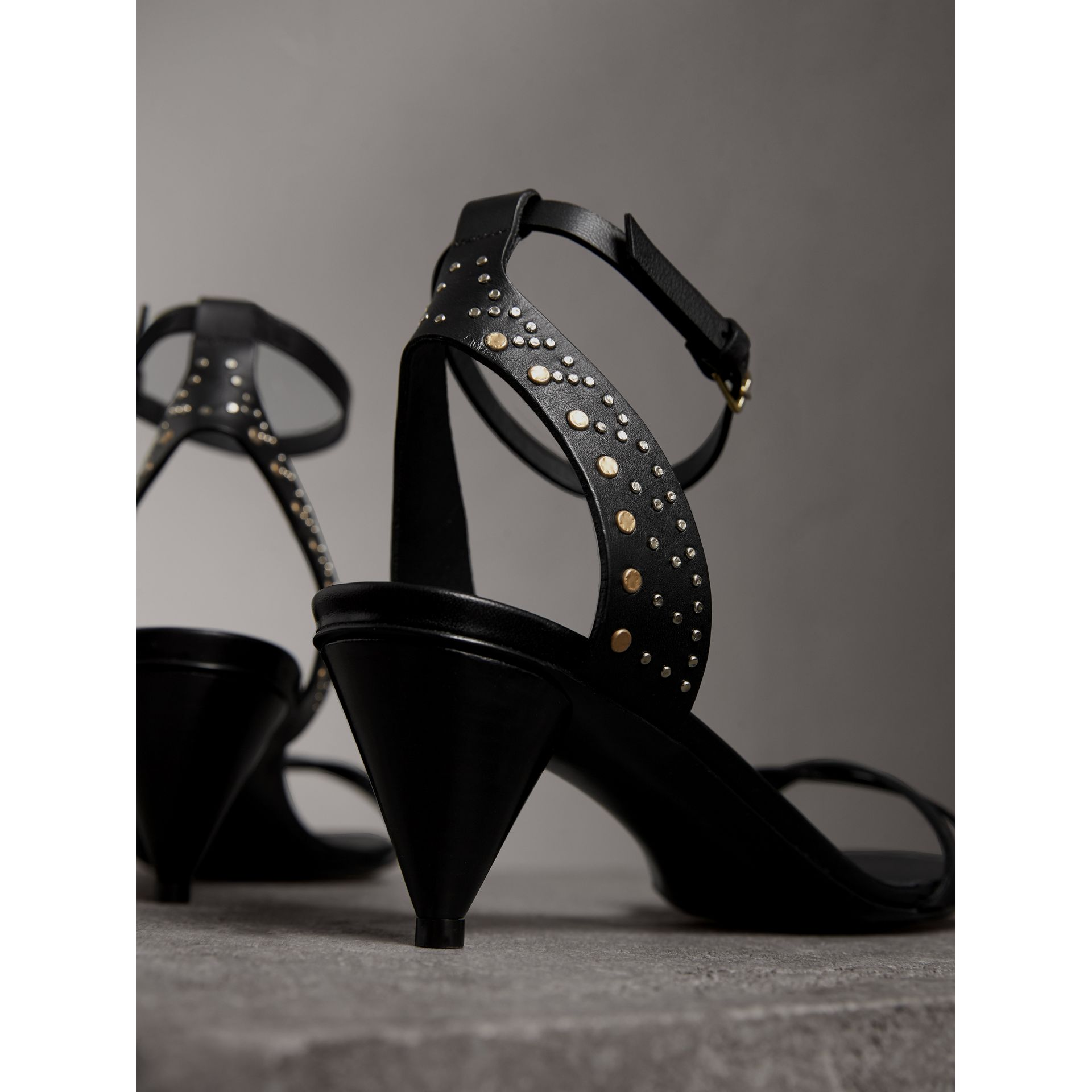 Riveted Leather Cone-heel Sandals in Black - Women | Burberry Australia - gallery image 4