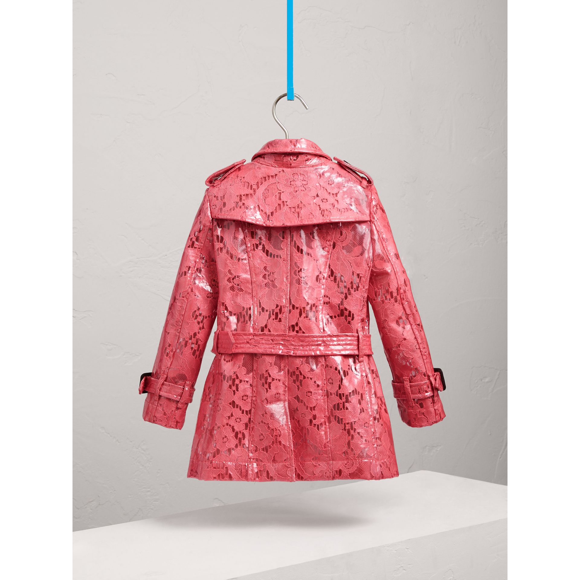 Laminated Lace Trench Coat in Bright Pink - Girl | Burberry - gallery image 3
