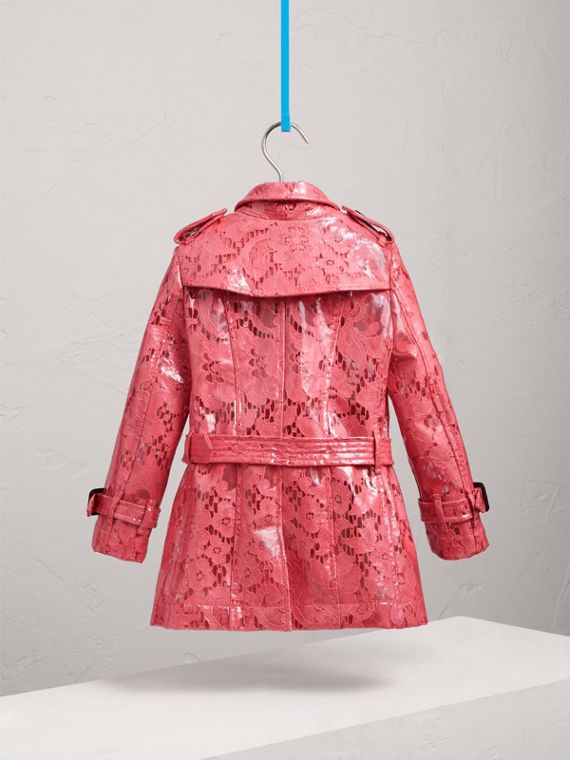 Laminated Lace Trench Coat in Bright Pink - Girl | Burberry - cell image 3