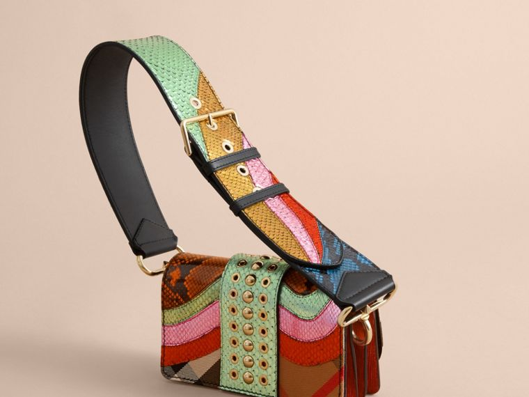 The Small Buckle Bag in House Check and Snakeskin - cell image 4