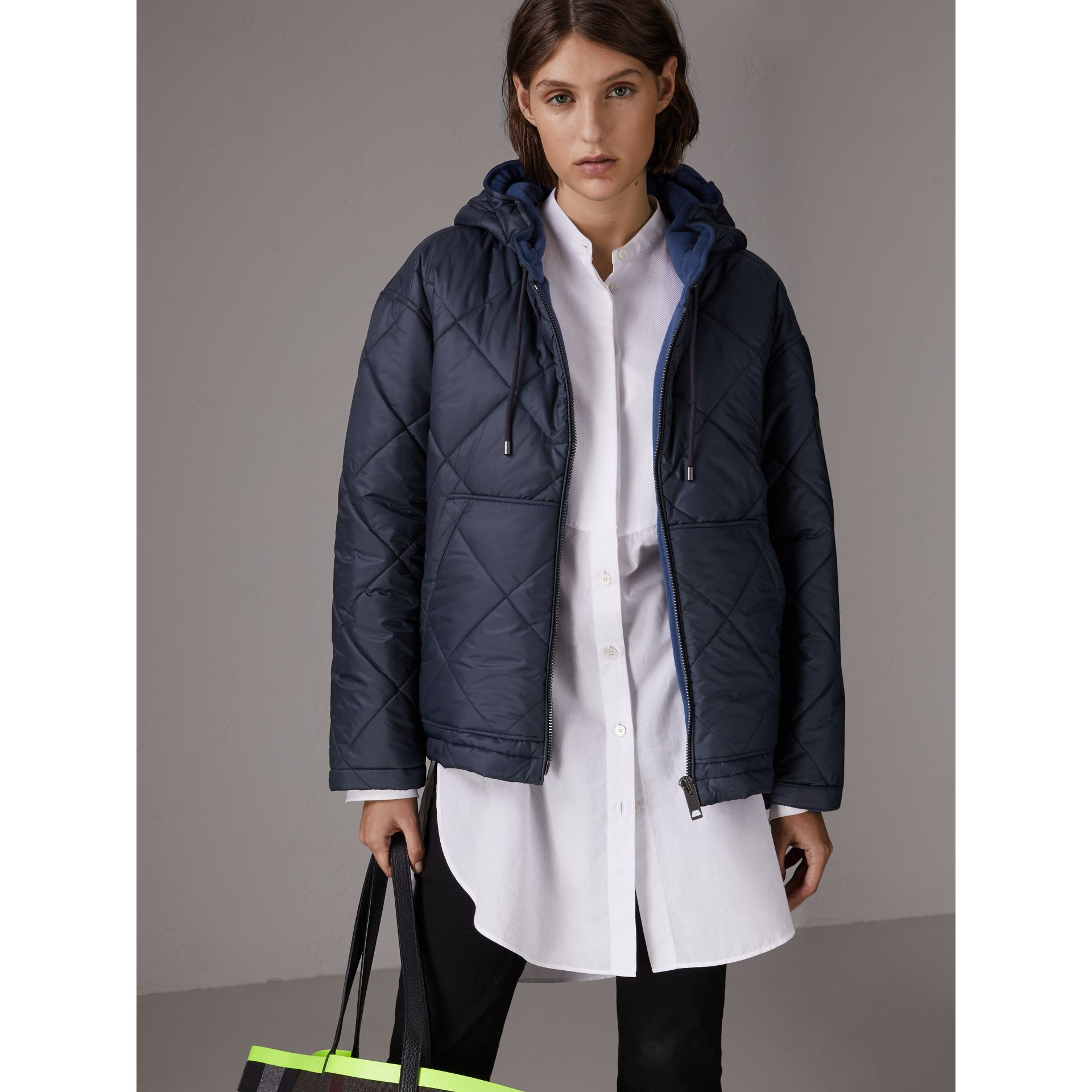 Reversible Diamond Quilted Hooded Jacket in Navy - Women | Burberry - gallery image 4