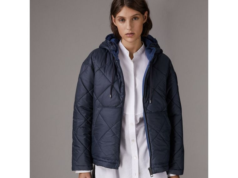 Reversible Diamond Quilted Hooded Jacket in Navy - Women | Burberry United States - cell image 4