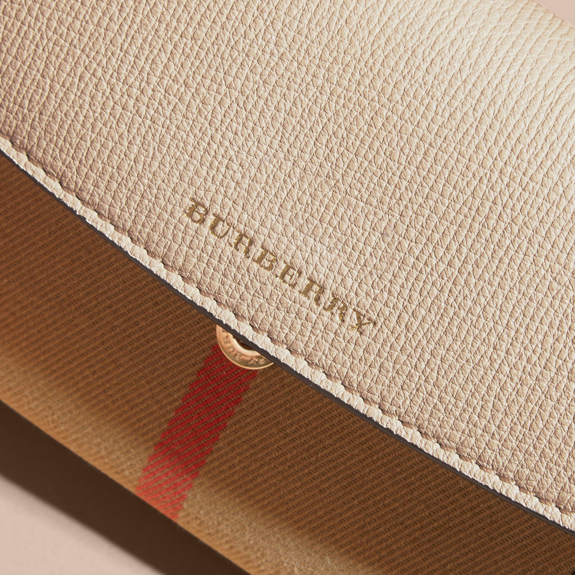 House Check And Leather Continental Wallet in Limestone - Women | Burberry Australia - gallery image 3