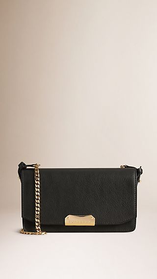 Leather Clutch Bag with Chain