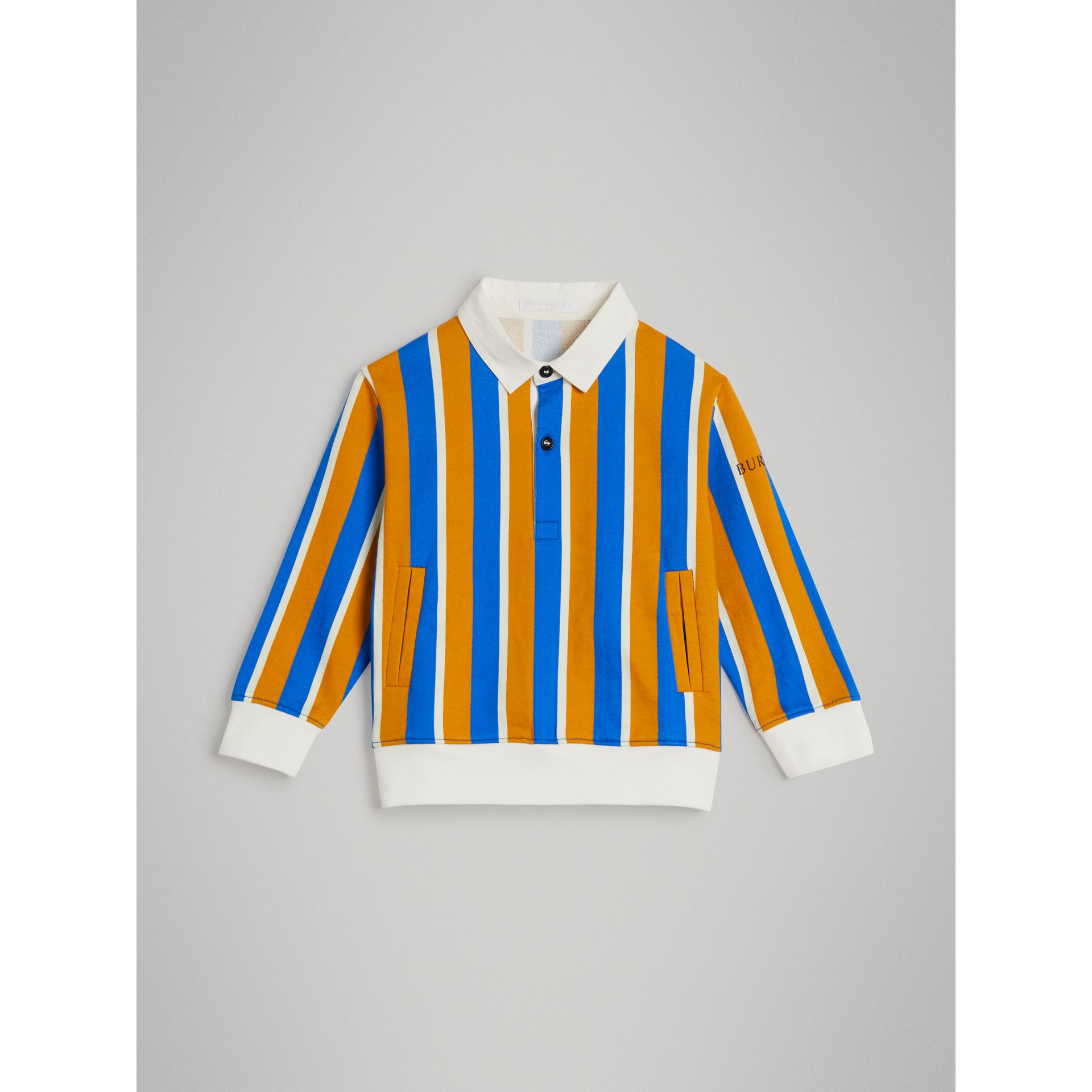 Striped Cotton Jersey Rugby Shirt in Bright Ochre Yellow - Boy | Burberry - gallery image 0
