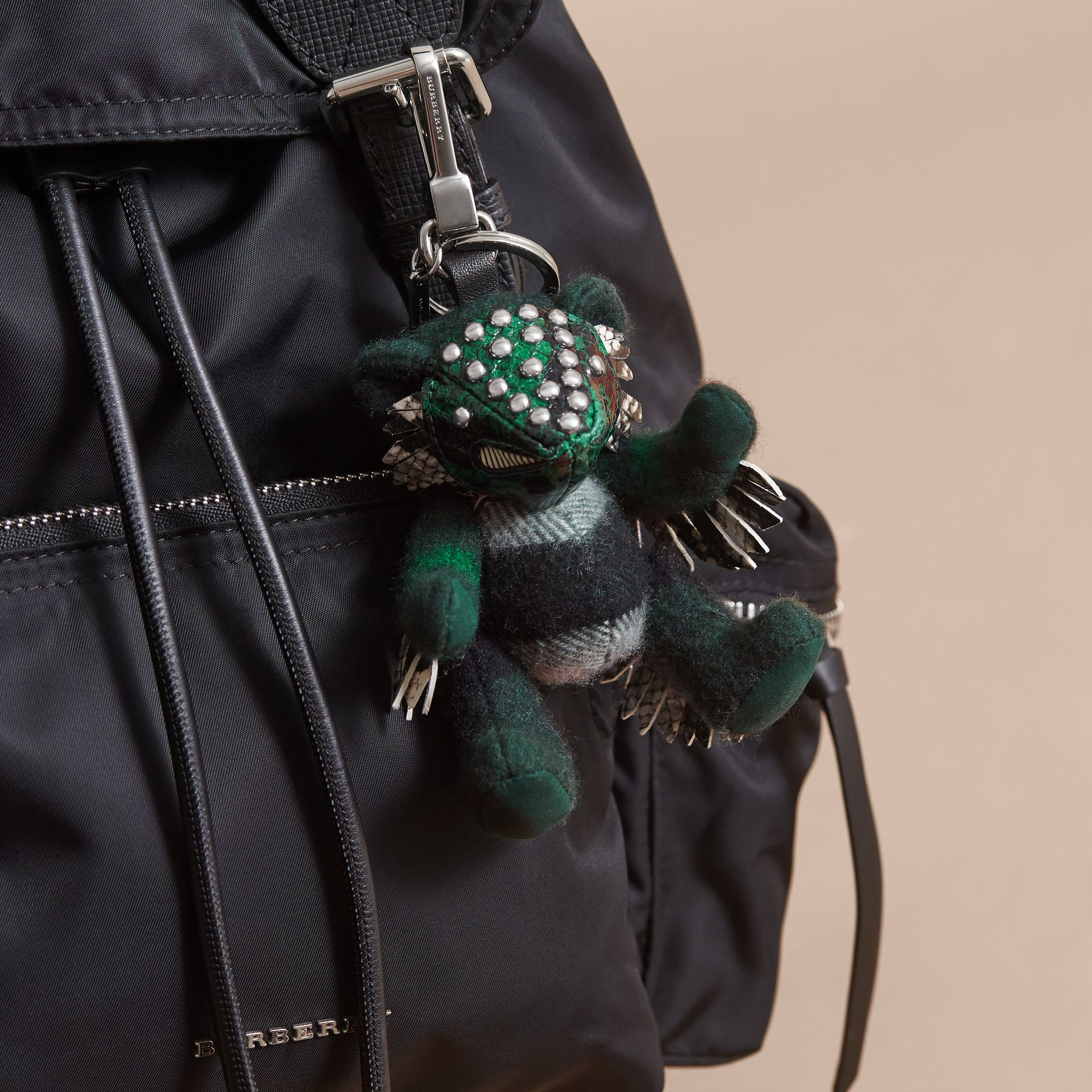 Thomas Bear in Check Cashmere with Beasts Detail in Dark Forest Green - Men | Burberry Canada - gallery image 3