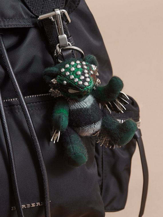 Thomas Bear in Check Cashmere with Beasts Detail in Dark Forest Green - Men | Burberry - cell image 2