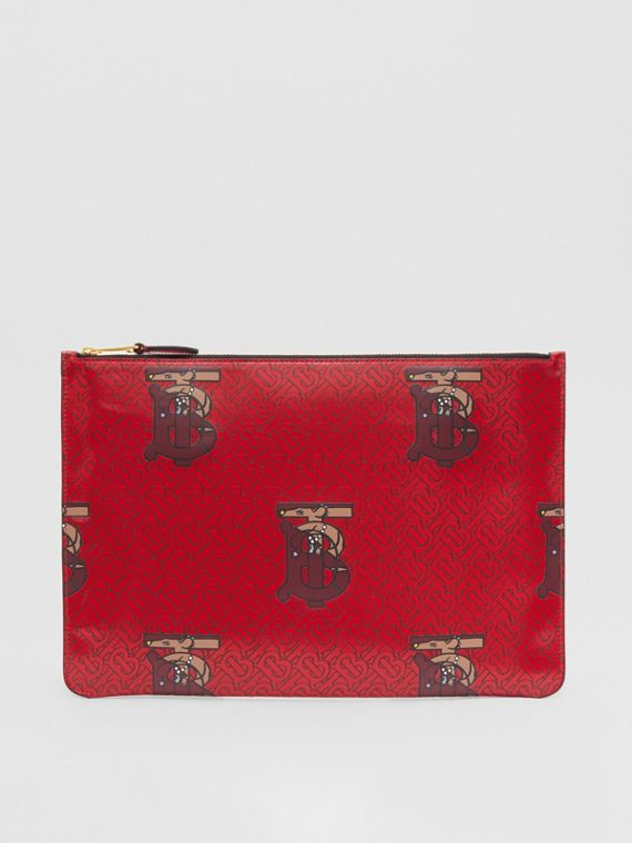 Monogram Motif Coated Canvas Pouch in Red