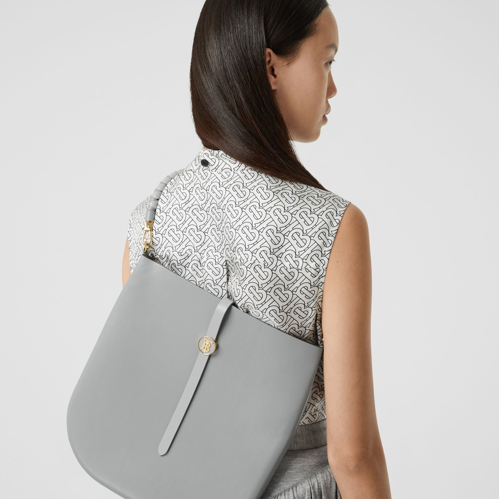 Leather Anne Bag in Cloud Grey - Women | Burberry - gallery image 8