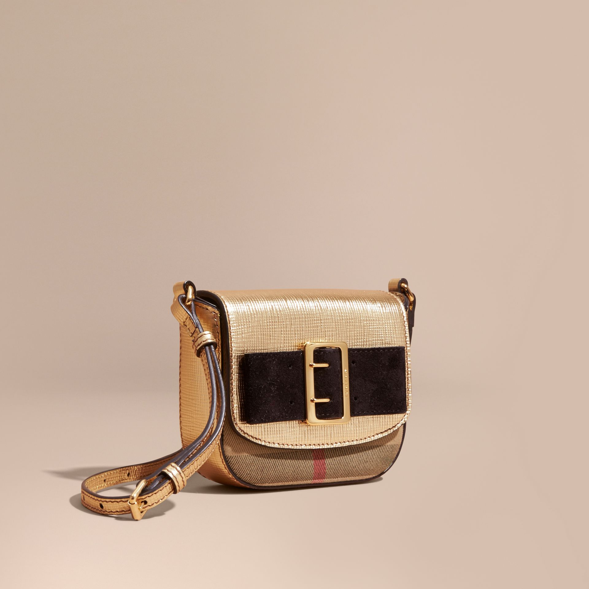 Gold Buckled Bow Metallic Leather Crossbody Bag - gallery image 1