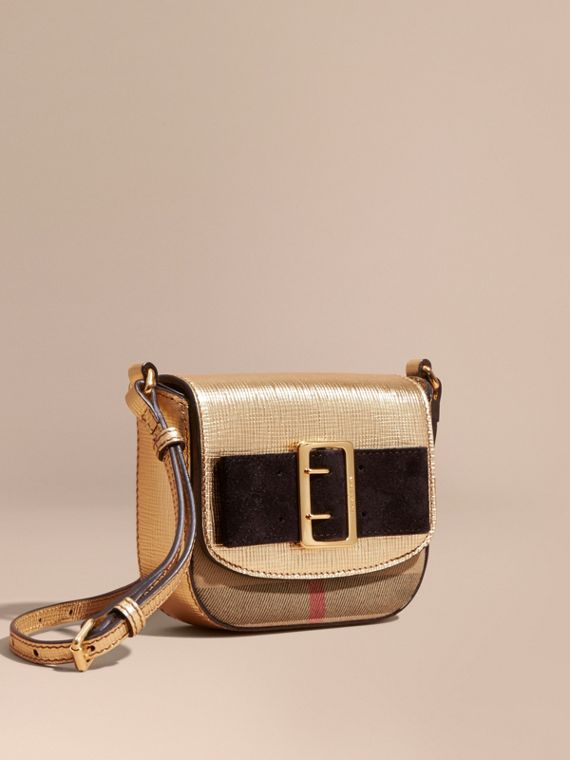 Buckled Bow Metallic Leather Crossbody Bag