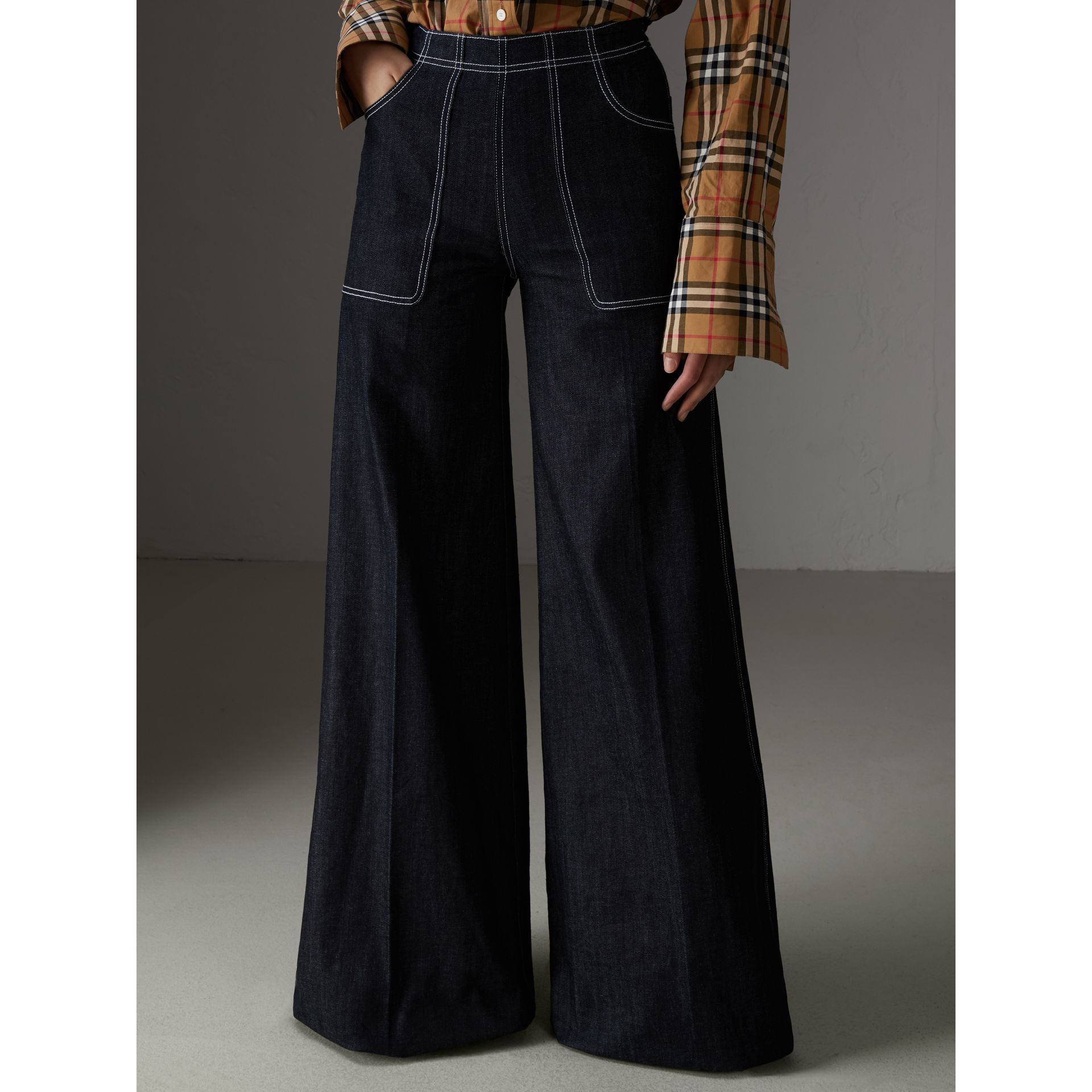 Stretch Japanese Denim Wide-leg Jeans in Steel Blue - Women | Burberry - gallery image 4