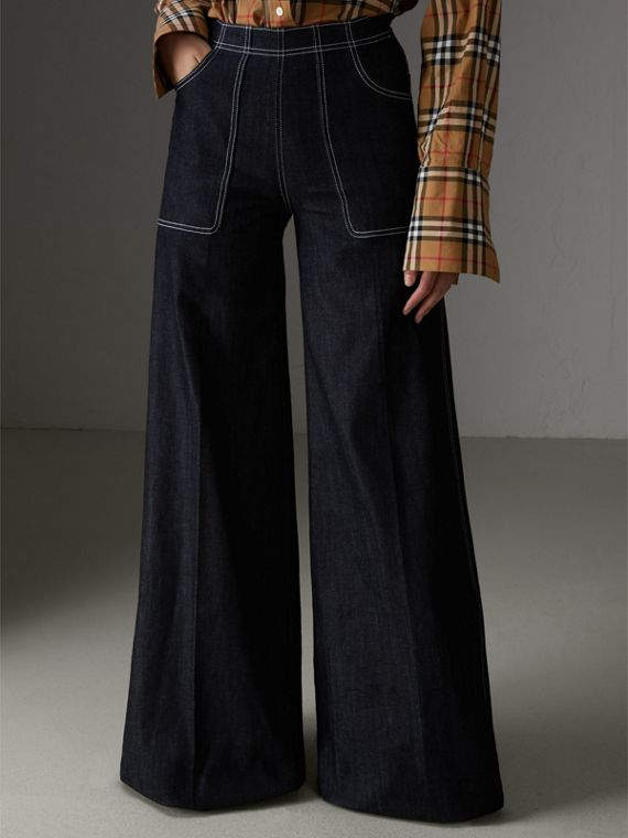Stretch Japanese Denim Wide-leg Jeans in Steel Blue