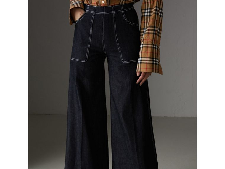 Stretch Japanese Denim Wide-leg Jeans in Steel Blue - Women | Burberry Canada - cell image 4