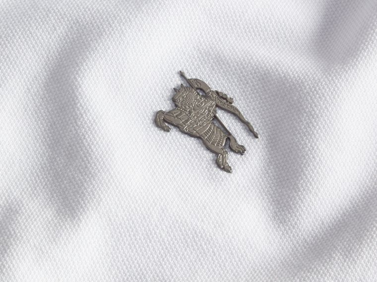 Contrast Colour Detail Cotton Piqué Polo Shirt in White - cell image 1