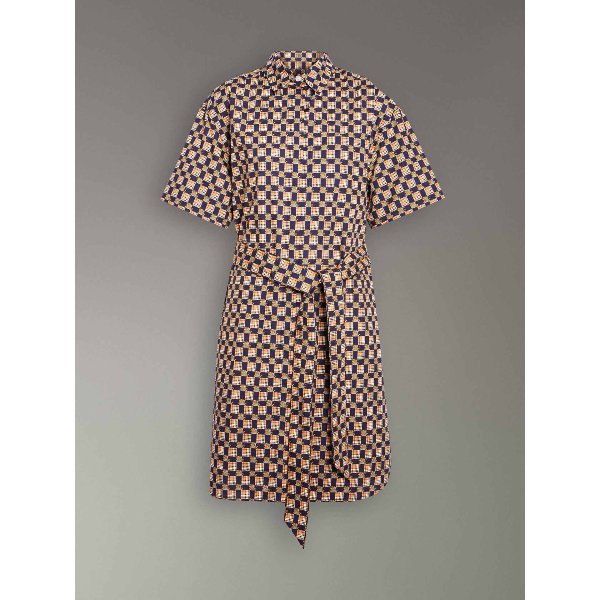 Tiled Archive Print Cotton Shirt Dress in Navy - Women | Burberry United Kingdom - gallery image 3