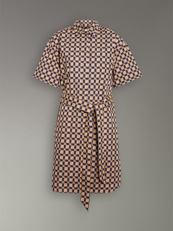 Tiled Archive Print Cotton Shirt Dress in Navy - Women | Burberry - cell image 3
