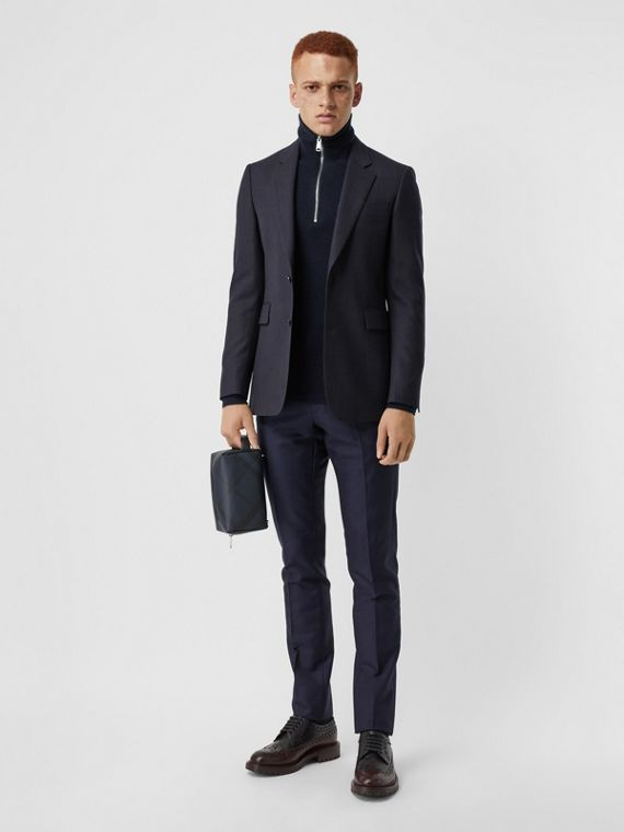 Classic Fit Pinstripe Wool Tailored Jacket in Navy Stripe