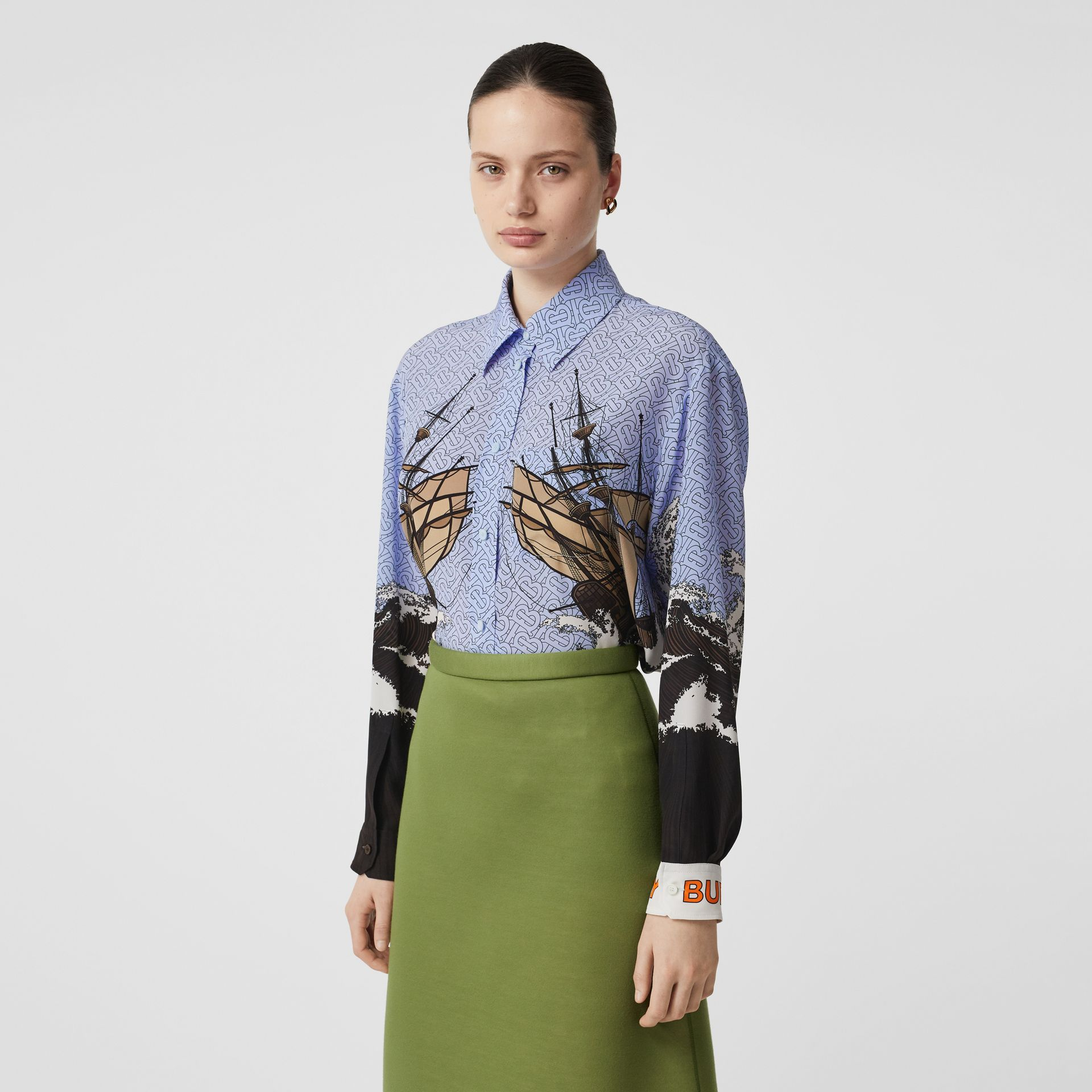 Ship Print Silk Oversized Shirt in Baby Blue - Women | Burberry - gallery image 5