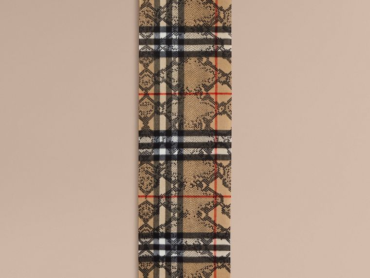 Camel/black The Classic Cashmere Scarf in Check and Python Print - cell image 1