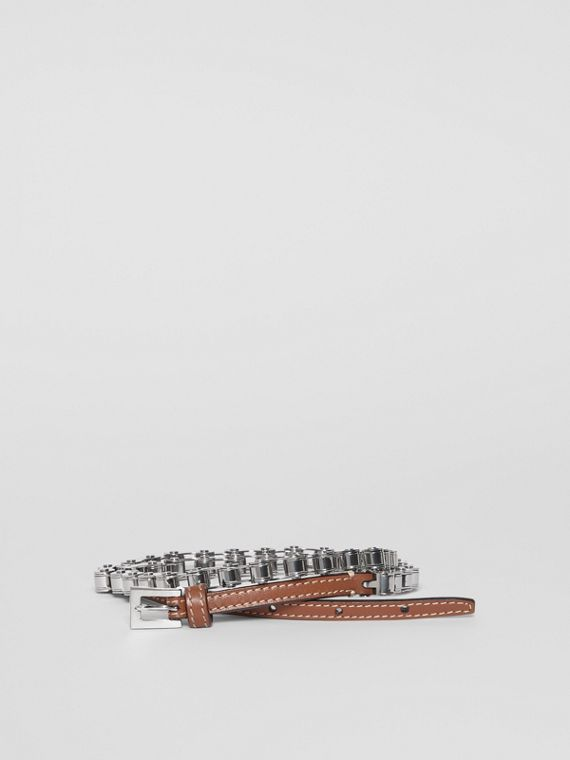 Leather and Bicycle Chain Belt in Malt Brown
