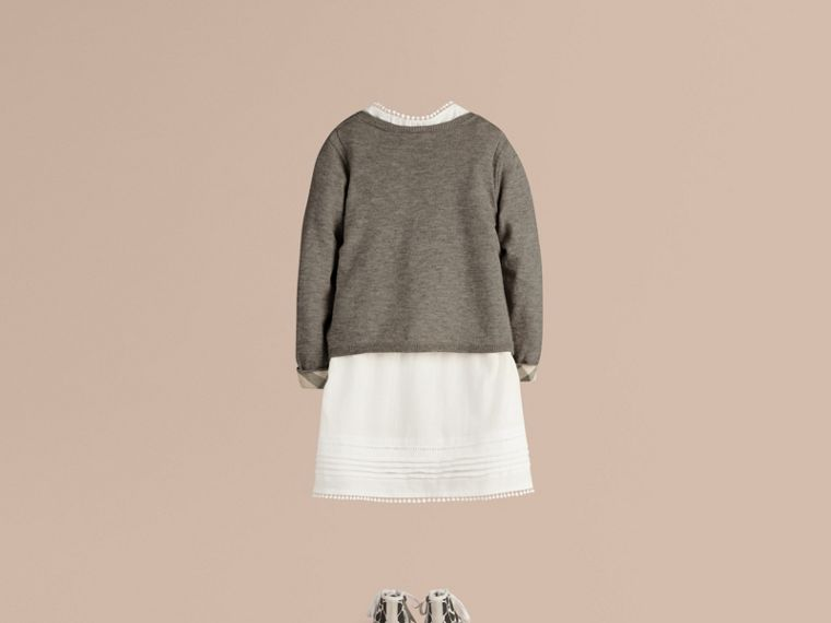 Check Cuff Cotton Knit Cardigan in Pale Grey Melange - Girl | Burberry - cell image 1