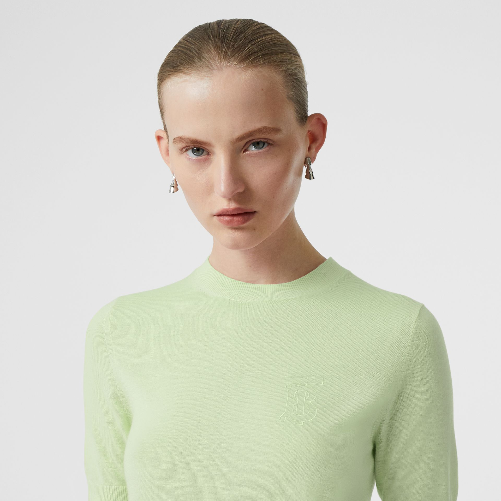 Monogram Motif Cashmere Top in Pistachio - Women | Burberry United Kingdom - gallery image 1