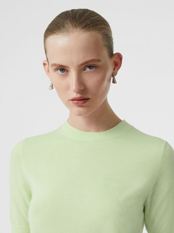 Monogram Motif Cashmere Top in Pistachio - Women | Burberry Singapore - cell image 1