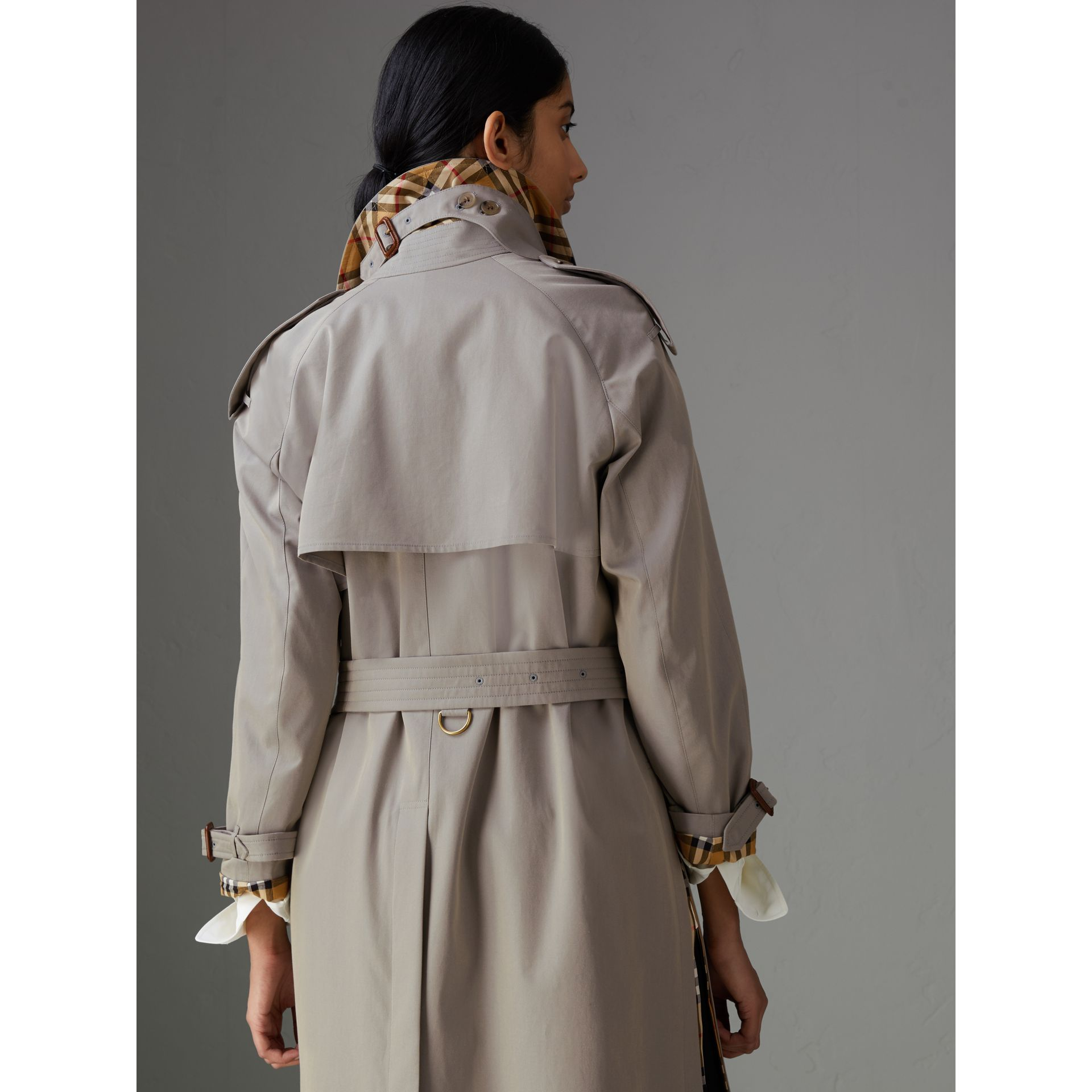 Side-slit Tropical Gabardine Trench Coat in Green Grey - Women | Burberry - gallery image 1