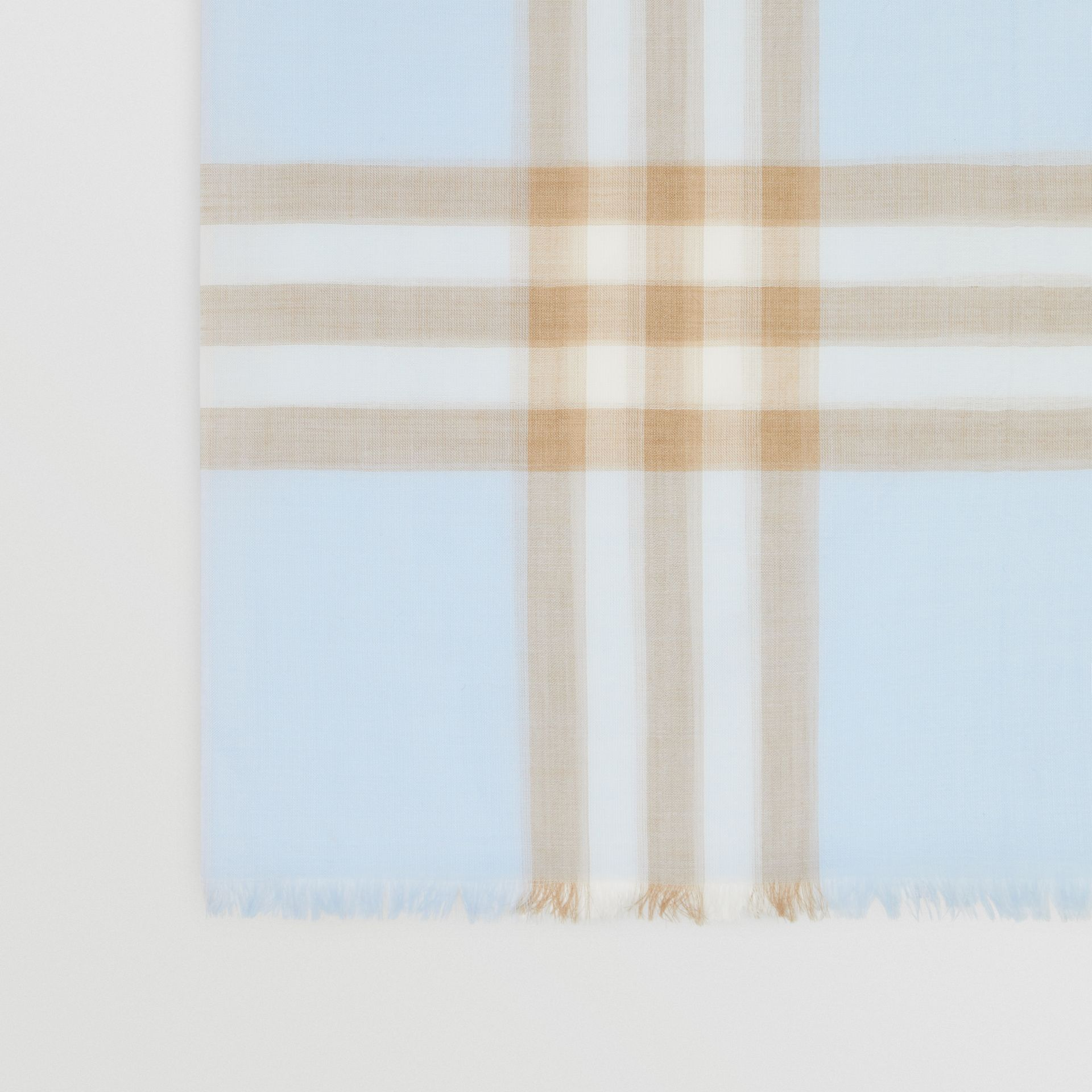 Lightweight Check Wool Silk Scarf in Pale Blue | Burberry Hong Kong S.A.R - gallery image 1