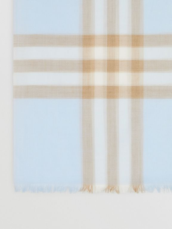 Lightweight Check Wool Silk Scarf in Pale Blue | Burberry - cell image 1