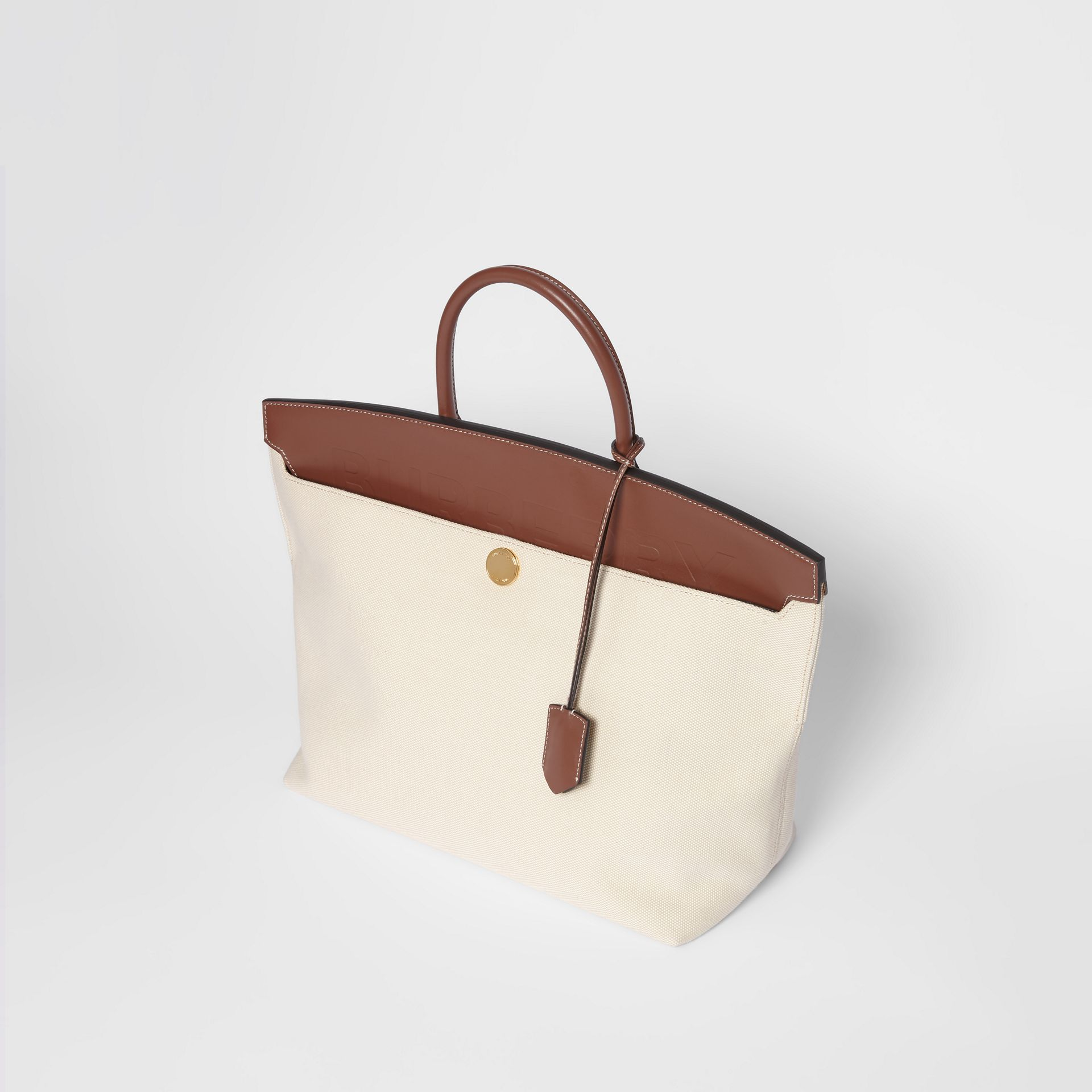 Cotton Canvas and Leather Society Top Handle Bag in Natural/malt Brown - Women | Burberry Australia - gallery image 3