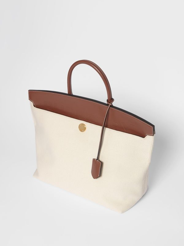 Cotton Canvas and Leather Society Top Handle Bag in Natural/malt Brown - Women | Burberry - cell image 3