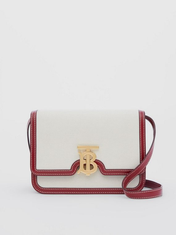 Small Two-tone Canvas and Leather TB Bag in Natural/dark Carmine