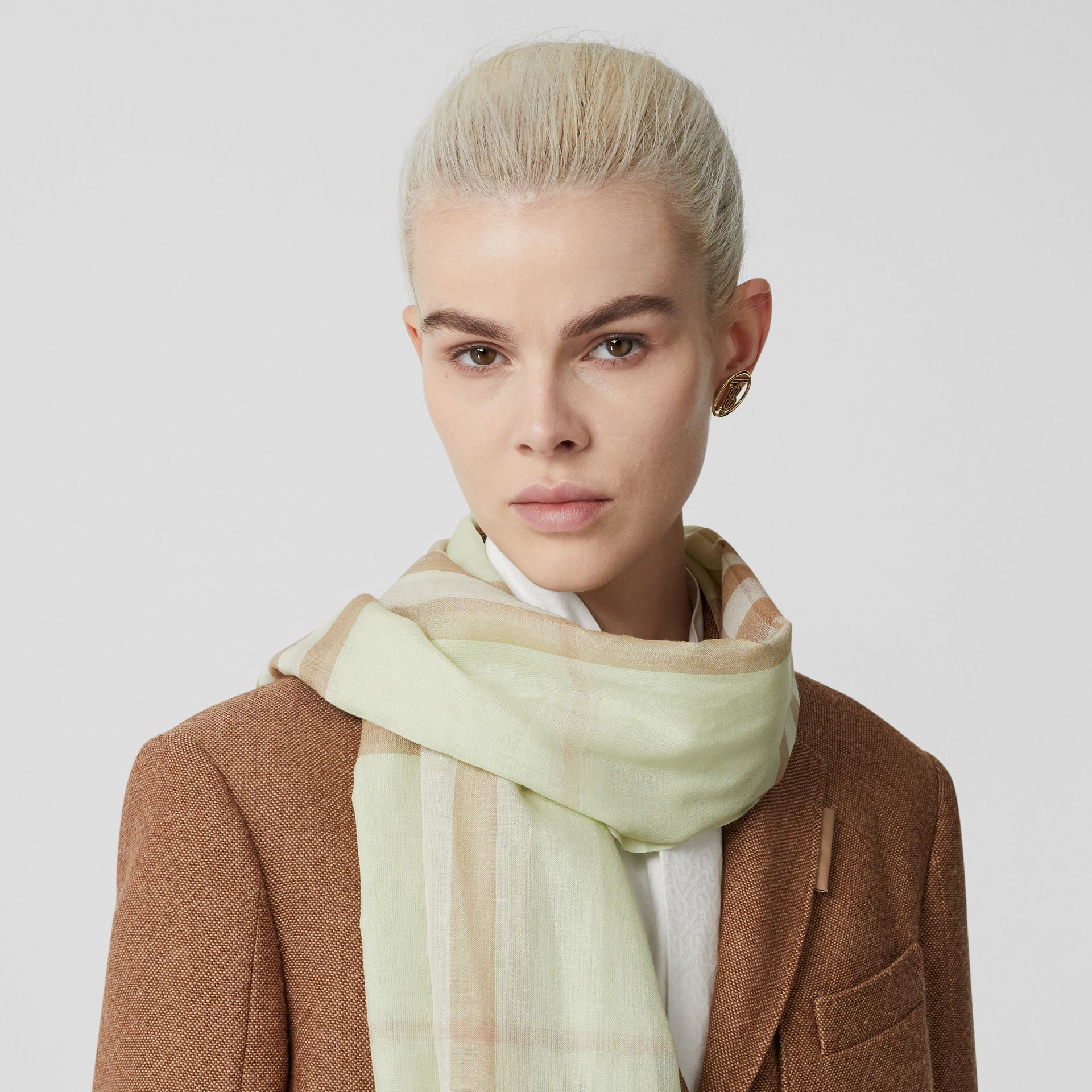 Lightweight Check Wool Silk Scarf in Pistachio | Burberry - gallery image 2