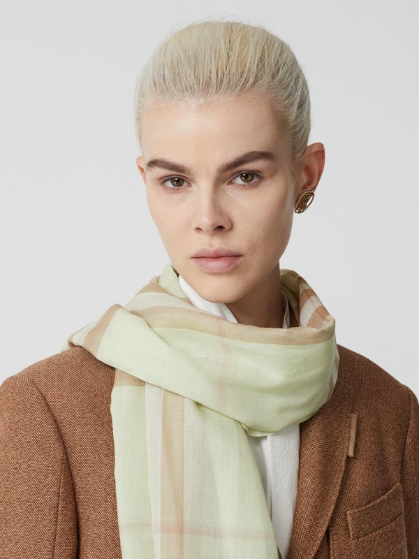 Lightweight Check Wool Silk Scarf in Pistachio | Burberry - cell image 2