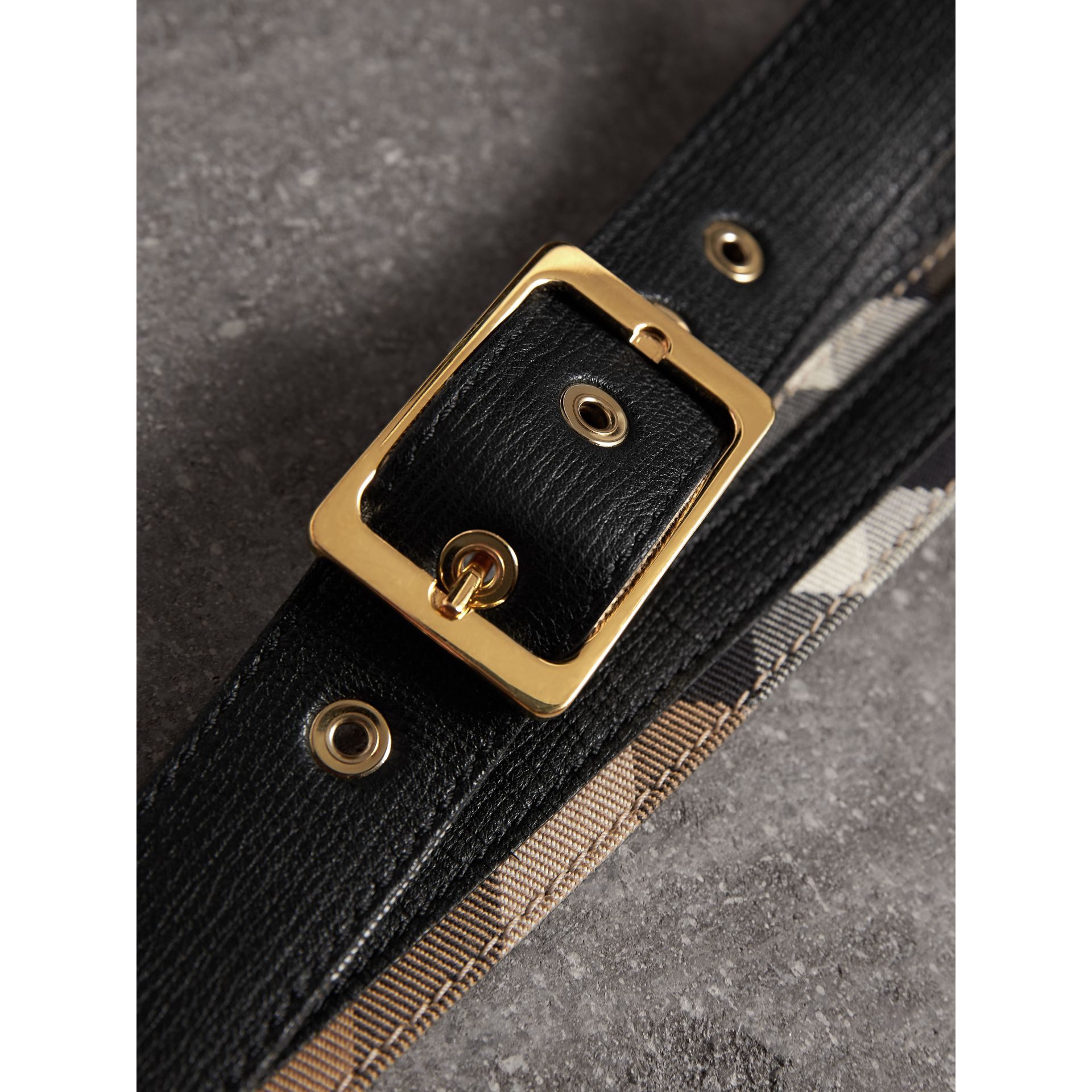 Reversible House Check and Grainy Leather Belt in Camel/black - Women | Burberry - gallery image 1