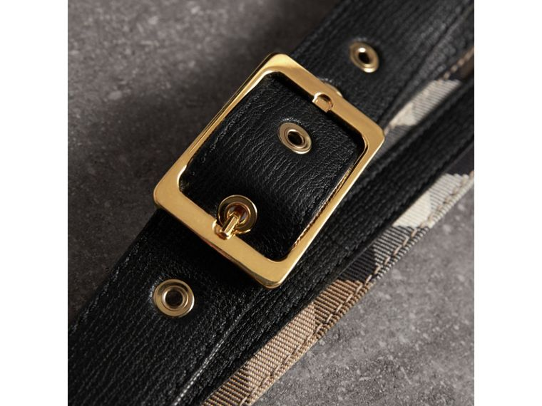 Reversible House Check and Grainy Leather Belt in Camel/black - Women | Burberry United Kingdom - cell image 1