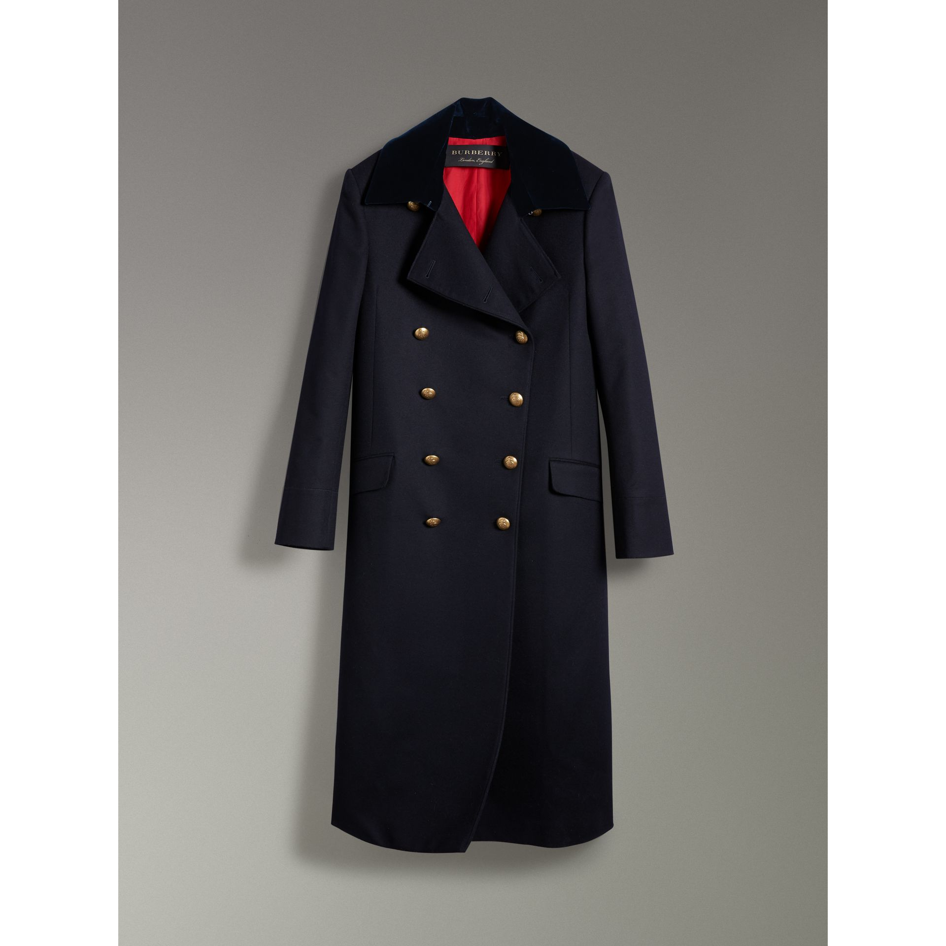 Doeskin Wool Military Coat in Dark Navy - Women | Burberry - gallery image 3