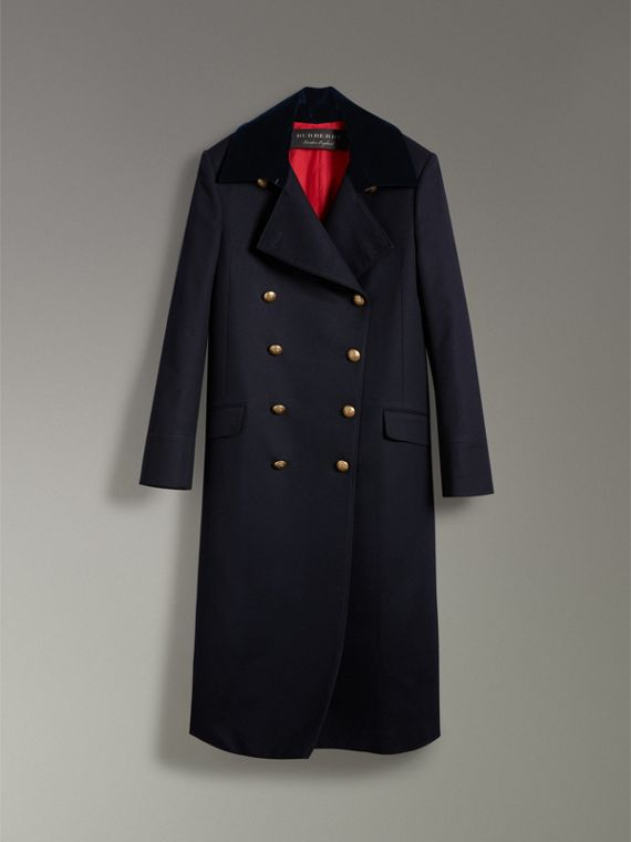 Doeskin Wool Military Coat in Dark Navy - Women | Burberry - cell image 3