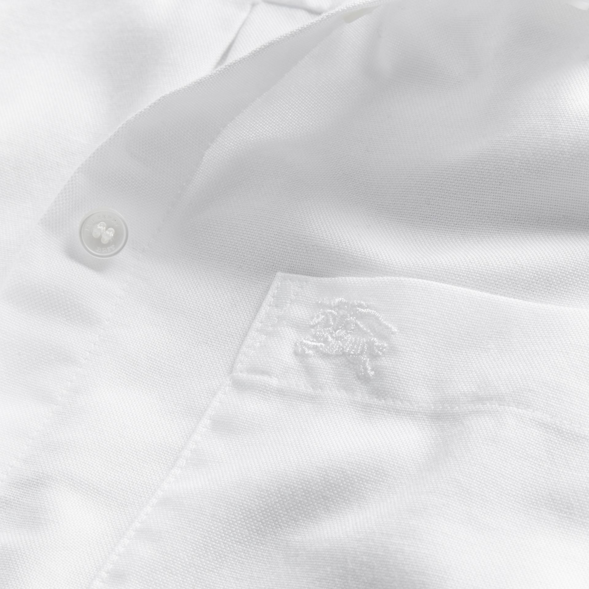 Optic white Check Detail Cotton Shirt Optic White - gallery image 2