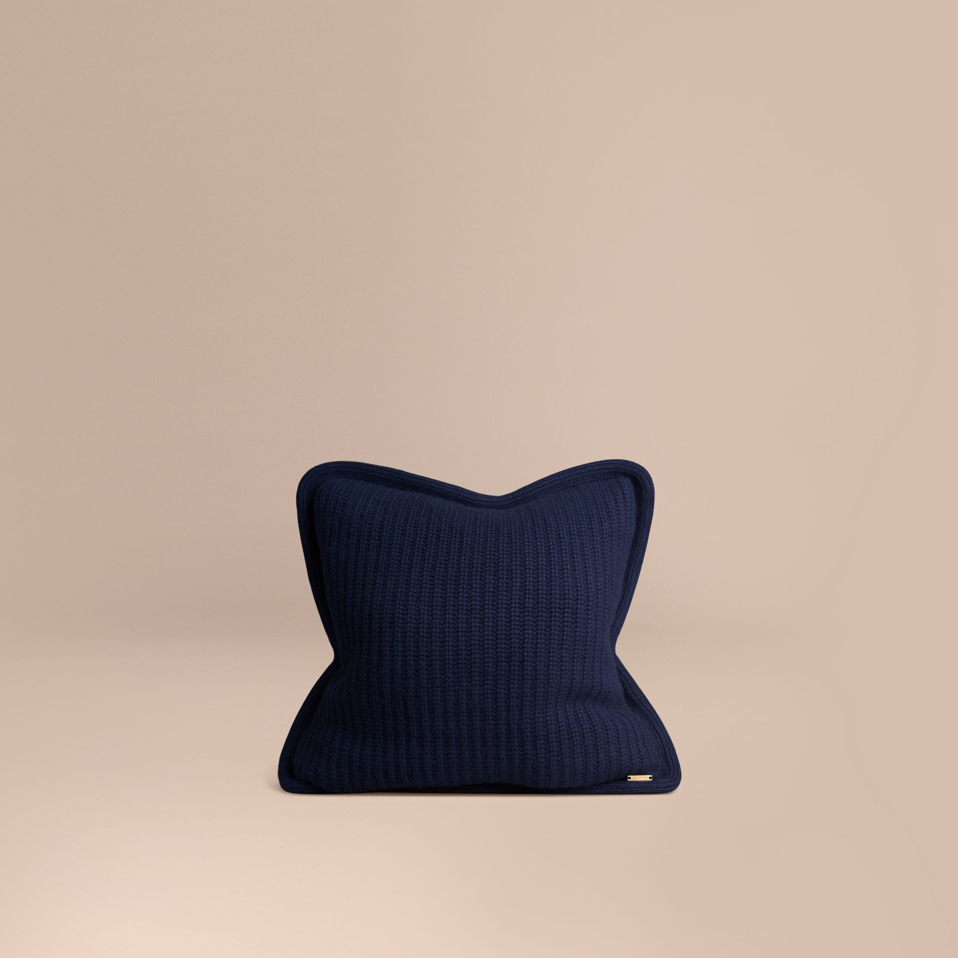 Navy Knitted Cashmere Cushion Cover Navy - gallery image 1