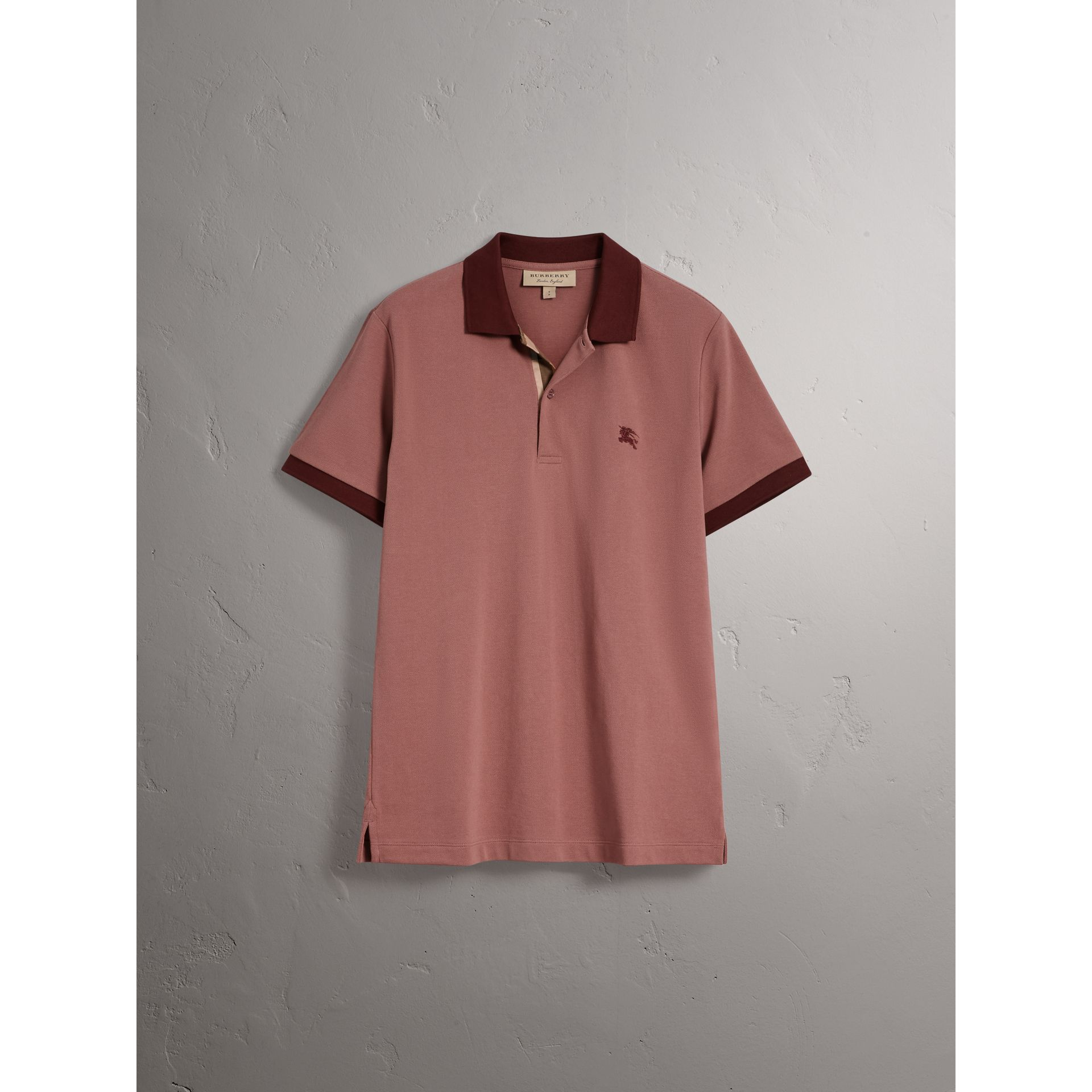 Cotton Piqué Polo Shirt in Rosewood - Men | Burberry Australia - gallery image 3